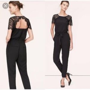 LOFT Black Lace Romper - Open Back Size 6 Petite
